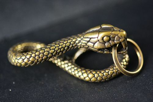 Chinese Collection old Asian Brass Copper snake pendant