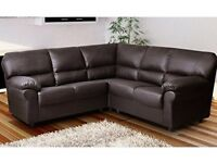 *COME AND VIEW IT ,TRY IT THEN BUY IT* BRAND NEW CANDY LEATHER CORNER SOFA SUITE BROWN