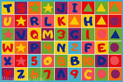 5x7  Educational Area Rug  ABC Kids School Time Numbers & Letters School Time