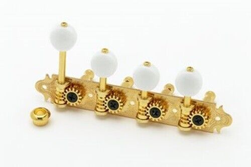 "NEW - Gotoh MF40 ""F"" Style Tuning Keys For Mandolin, White Buttons - GOLD"