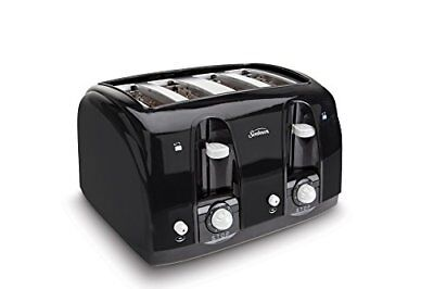 Sunbeam Roomy Slot 4-Slice Toaster, Black (003911-100-000) Black