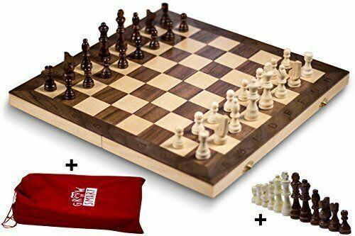 "Smart Tactics 16"" Folding Chess Set Made By FSC Certified Wo"