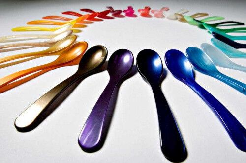 Designer Eierlöffel Kaviarlöffel Perlmutt Optik 12,5 cm viele Farben edel