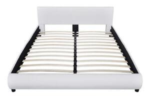 vidaXL 242054 Kunstleder-Bezug 200x160 cm Holzbett mit LED Beleuchtung - Weiß günstig kaufen