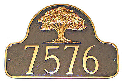 Oak Tree Address Plaque Lawn Marker House Sign Numbers wall Custom Made 2 order ()