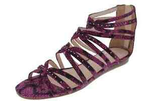 Rachel Roy NEW Pink Suede Studded Flat Gladiator Sandals 8.5