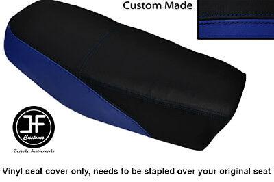 BLACK AND ROYAL BLUE VINYL CUSTOM FITS <em>YAMAHA</em> DT 50 MX DUAL SEAT COVER