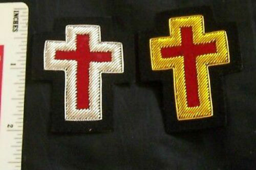 Medieval Masonic Knight Templar Gold Silver Cross Uniform Sleeve Ceremony Patch