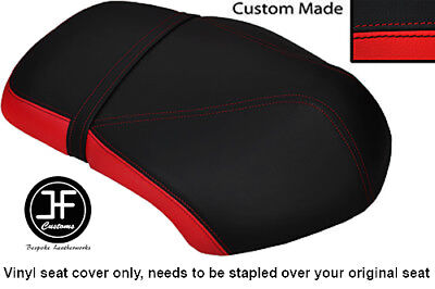 RED AND BLACK VINYL CUSTOM FITS <em>YAMAHA</em> XF 50 GIGGLE DUAL SEAT COVER ON