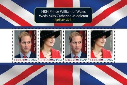 Ghana- Royal Wedding of Prince William And Kate Middleton Stamp Sheet of 4 MNH