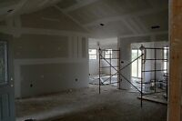Drywall, boarding, filling, taping, insulation.