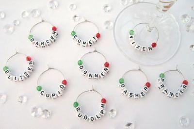 Set of 9 Christmas Theme Wine Glass Charms - Reindeer Names - Table Decorations