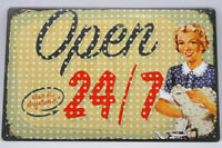8 x 12 inches Retro Style Open 24/7 Tin Wall Sign