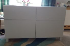 Ikea White BESTÅ Storage combination w doors/drawers Sideboard TV Unit