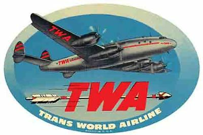 Twa   Airlines   1950S  Vintage Looking Travel Sticker Decal Luggage Label