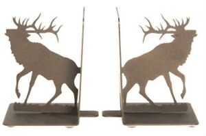 Elk metal bookends laser cut sturdy base book ends powder coated new ebay - Sturdy bookends ...