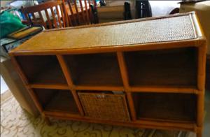 Wicker storage cabinet
