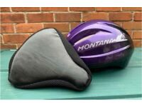 Kids Montana Cycle Helmet and padded seat cover (Used - good condition)