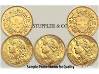 1897-1949 Swiss Gold 20 Francs Helvetia BU SKU #38659
