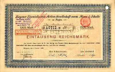 Siegener Eisenindustrie Hesse & Schulte Siegen Gründeraktie 1898 Siegerland SEAG