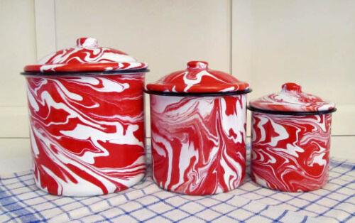 Graniteware Canister Set Red Swirl Enamelware Vintage Style Farmhouse Kitchen