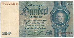 1935 GERMANY 100 REICHSMARK SWASTIKA NOTE - PAPER MONEY