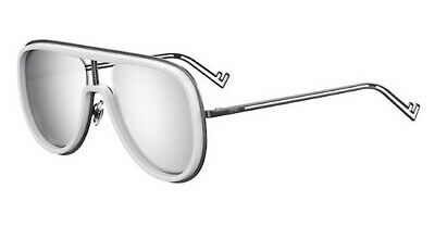 Fendi Futuristic Sunglasses FF M0068 0BK DC White Silver Mirror Lens Aviator Men