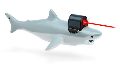 CW from top left: Kit the Great White Shark Hot Water Bottle Cover, RC Flying Shark, Hoodie, Shark with Frickin Laser