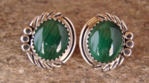 Native American Sterling Silver Malachite Post Earrings by Delores Cadman