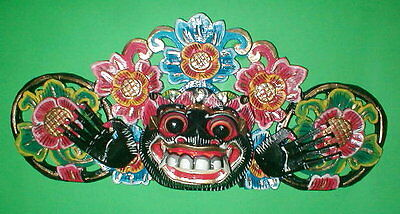"""Mask Bali Hindu Boma Mask Great for Entrance way Hand carved 16"""" assorted colors"""