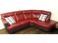 DFS Red/Brown real leather corner sofa. Can deliver