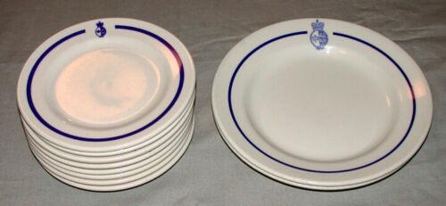 "Vintage Lot of 10 Canadian Cost Guard 6 "" & 8.5 "" Emblem Dinnerware  Plates"