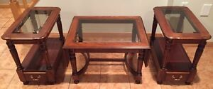 Solid Wood Coffee Table and End Table Set
