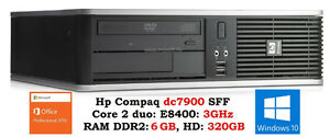 Hp dc7900 SFF : Core2 duo E8400: 3.0GHZ, 6GB RAM, HD 320GB :135$
