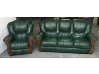 Italian Leather Antique Green Chesterfield Style Sofa Set.WE DELIVER
