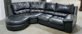 DFS Black Thick Leather Corner Sofa With Half Moon Footstool.WE DELIVER