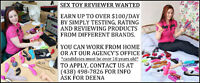 ** SEX TOY REVIEWER WANTED, EARN UP TO $100 A DAY **