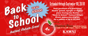 KAWAI Piano Back to school Instant Rebate Event