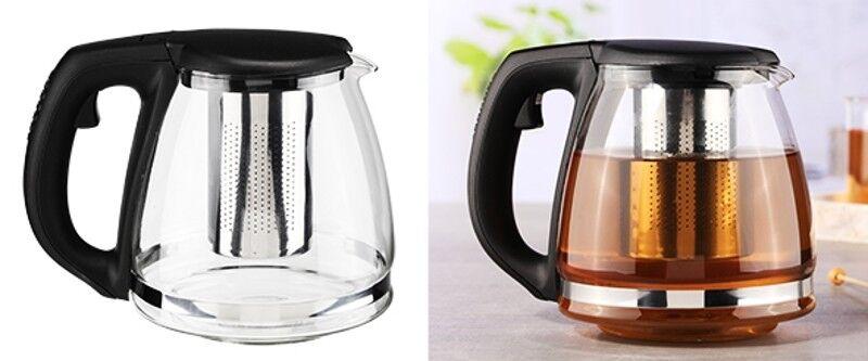 Teekanne Kaffeekanne Glaskanne Kanne Glas mit Filtereinsatz aus Edelstahl 1,2L