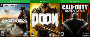 Selling/Trading Xbox One Doom, Ghost Recon Wildlands, Black Ops