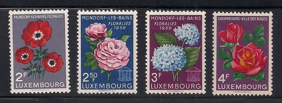 Luxembourg 1956 Sc 310-13 Flowers MNH OG 3-7377  - $2.95