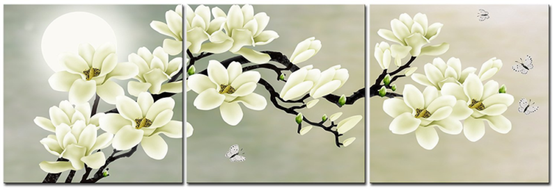 Details About White Magnolia Flower Wall Art Picture Print Canvas Framed Home Hang Decor Gift
