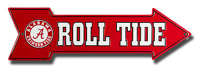 - ALABAMA CRIMSON TIDE ROLL TIDE EMBOSSED METAL ARROW SIGN  MAN CAVE SPORTSROOM