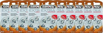 60 Rayovac Extra Advanced Hearing Aid Batteries  Size 312  Free Usa Shipping
