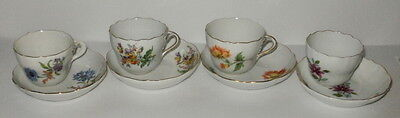 MEISSEN Porcelain Demitasse Cup & Saucer - Royal Flute Shape - Floral Bouquet