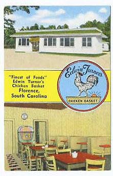 Florence SC Edwin Turner Chicken Basket Restaurant Juke Box Postcard