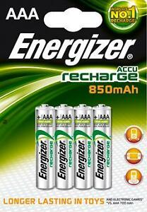 4 x ENERGIZER AAA 850 mAh RECHARGEABLE BATTERIES 1x4 NiMH HR03 1.2V NEW 850mAh