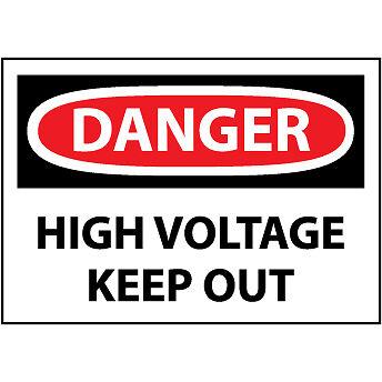 Danger High Voltage Keep Out, 14x20 .040 Aluminum Sign