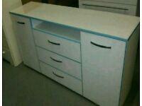 A brand new white gloss finish 2 door 3 drawers shelve large sideboard.