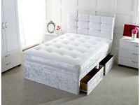 Express Delivery Crushed Velvet Divan Bed Double Size Storage Drawers Optional